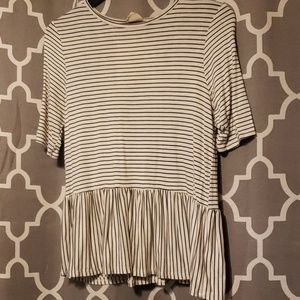 New Live in the Moment striped peplum shirt
